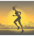 Silhouette of running girl vector image vector image