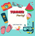 Summer holiday vacation party poster flat