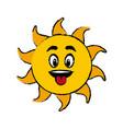 sun cartoon tongue out fun mascot character vector image