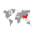 the map of china is highlighted in red on the vector image