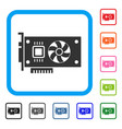 video accelerator card framed icon vector image vector image