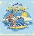 vintage textured hand draiwng surfing design vector image vector image