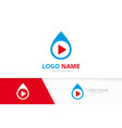 water drop and button play logo combination vector image