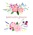 Watercolor floral borders vector image vector image