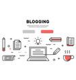 webblogging flat line banner and landing page vector image