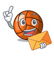 with envelope volleyball character cartoon style vector image vector image