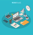 workplace isometric concept vector image