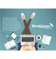workplace with man with laptop phone vector image vector image