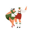 young couple in traditional bavarian clothes with vector image vector image