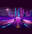 bikers racing on metropolis highway vector image vector image