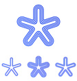 Blue line star logo design set vector image vector image
