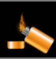 burning gold lighter vector image vector image
