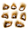 burnt paper holes realistic burn fire vector image