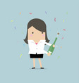 businesswoman uncorking a bottle of champagne vector image vector image