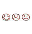 cartoon hand drawn smiley face icon in comic vector image vector image