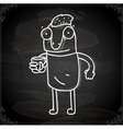 Cartoon Man Drawing on Chalk Board vector image vector image