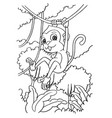 cartoon monkey playing in the forest coloring page vector image