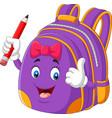 cartoon purple school backpack holding pencil vector image vector image