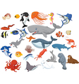 Cartoon sea animals isolated on white background vector image vector image