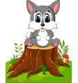 cartoon wolf sitting on tree stump vector image vector image