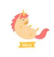 cute magical unicorn inspirational card vector image