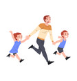 dad and his sons running holding hands father and vector image vector image