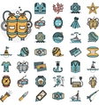 Diving flat icons collection vector image vector image
