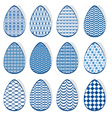 egg set blue 380 vector image vector image