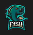 fish gaming logo vector image
