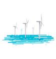 floating wind turbine vector image vector image