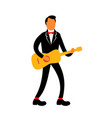 guitarist in tuxedo playing guitar retro vector image vector image
