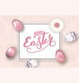 happe easter background lettering eggs texture vector image
