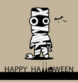 happy halloween card with mummy vector image vector image