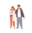 happy young family with child standing together vector image vector image