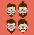 hipster face collection vector image