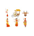 indian people in traditional clothing symbols of vector image vector image