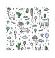 lama concept composition in doodle style vector image vector image