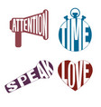 Logos letters style icon set - attention time