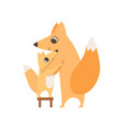 loving mother fox hugging her child who is vector image vector image