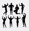 male and female body builder sport silhouette vector image vector image