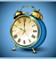 metal retro style alarm clock on blue background vector image vector image