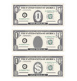 money set paper banknotes one dollar in gray vector image vector image