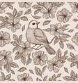 nightingale on flower seamless pattern vector image