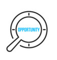 opportunity word magnifying glass vector image