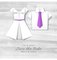 origami dress and shirt wedding invitation vector image