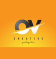 ov o v letter modern logo design with yellow vector image vector image