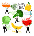 people and vegetables vector image vector image