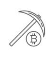 pickaxe bitcoin mining thin line symbol icon vector image vector image