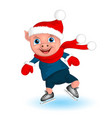 pig boy in santa costume cartoon funny christmas vector image