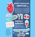poster of heart cardiology medicine items vector image vector image